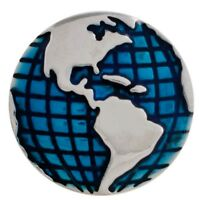 Blue Ocean Globe World Map 20mm Snap Charm For Interchangeable Ginger Snaps