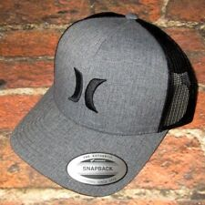 MENS HURLEY CHARCOAL BLACK SNAPBACK HAT ADJUSTABLE CAP ONE SIZE
