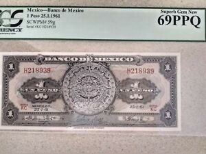 1961, Mexico, One Peso, 69 PCGS, PPQ, Superb Gem, Unc.