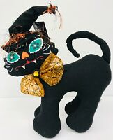 Halloween Black Cat Decoration Day of the Dead Painted Kitty Face Fabric