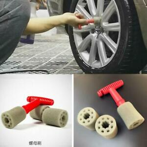 Car Wheel Hub Lug Cleaning Tool Red T-Form Handle +3 Pcs Grey Replacement Sponge