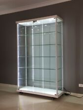 Titanium Alloy FULL Glass Display Cabinet with LED Downlights Strips FLAT PACK