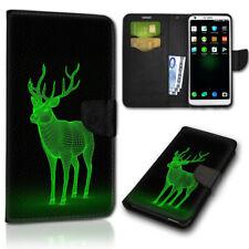 Smartphone Flip Handy Tasche BB-289 ( schwarz Hirsch grün ) Schutzhülle