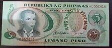5 Pesos Banknote Philippines Andres Bonifacio Serial# *0552414