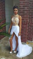 White and Gold 2 Piece Prom Dresses Crystal Party Gowns Homecoming Dresses