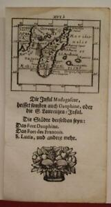 MADAGASCAR 1702 MÜLLER UNUSUAL ANTIQUE COPPER ENGRAVED MINIATURE MAP