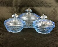 Vintage Art Deco Trinket Boxes Box Blue Glass Powder Vanity Pot