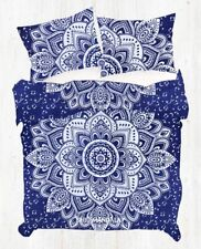 Blue Silver Lotus Mandala Twin Single Size Duvet Donna Cover Pillow Cover Set