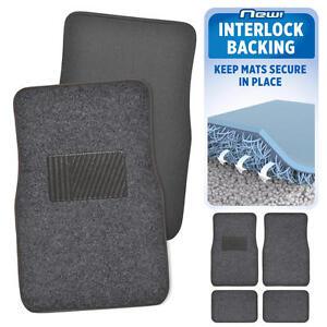 Dark Gray Car Floor Mats No Slip or Skid Lock-In-Place Backing 4pc Set Carpet