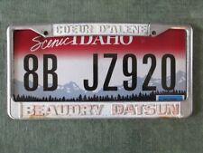 Vintage License Plate Frame Beaudry DATSUN Coeur D'Alene, Idaho Classic Nissan