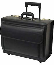 New GENUINE LEATHER LAWYER PILOT FLIGHT CATALOG WHEELED CASE Laptop box
