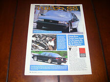 1995 CHEVROLET IMPALA SS TURBOCHARGED ***ORIGINAL 1997 ARTICLE***