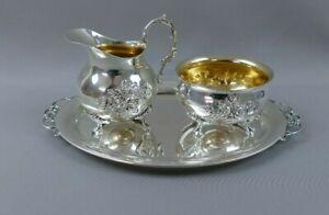 Silber 800 Silberservice Tablett Zuckertopf und Milchkännchen Hildesheimer Rose