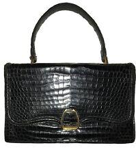 Extremely Rare Hermès Vintage Bag w Cert of Authenticity. Black. Crocodile  Skin. bf02f2681c9d7