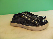Girls toddler Tennis Shoes Size 13 Airwalk White Black Silver Sparkle