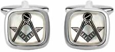 David Van Hagen Mens Masonic Square Cufflinks - Mother of Pearl