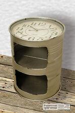 Beistelltisch mit Uhr Atlanta Couchtisch Ablagatisch Regal Metall rund Tonne