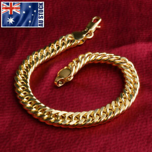 Stunning 18K Gold Plated 8MM Curb Chain Solid Link Bracelet Mens & Womens Gift
