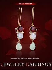 Boucles d`Oreilles Dormeuse Doré Long Rouge Opale Verre Vert Facetté Retro XX19