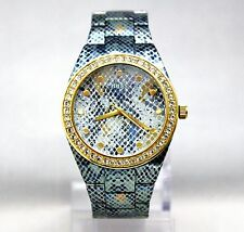 NEW GUESS U0583L1 Blue Python Printed Golden Crystal Bezel Dial Women Watch