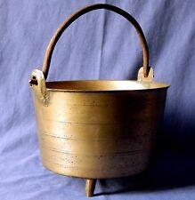 18th century French bronze handled tripod hearth cauldron/kettle, circa 1780