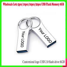 10pcs Free Logo Pen Drive 8GB Storage Meta USB Flash Memory stick Key Thumb Lot