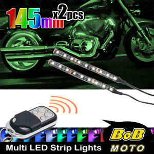 145mm DIY SMD LED RGB Strip Accent Light x2 Flexible Super Bright For Buell Bike