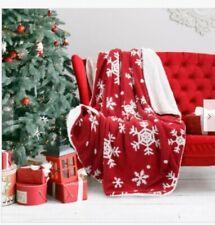 Bedsure Christmas Holiday Sherpa Fleece Throw Blanket Snowflake Red And White Fu
