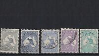 K968) Australia 1915 Kangaroos 2nd wmk set of 5 2d to 1/-, all with cds cancels