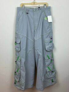 Macgear Mens Pants Green Gray Cargo Wide Leg 90s Vintage skater punk rave Sz 34