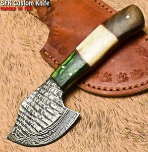 SFK Rare Handmade Damascus Steel Hard Wood Hunting Skinner Knife