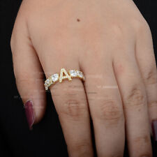 """Letter """"A"""" Initial Square White Topaz Cluster Ring Solid 14K Yellow Gold Jewelry"""