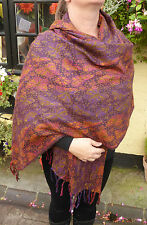 Butterfly Multi Colour Indian Made Soft Acrylic Large Shawl (WM115) CLEARANCE