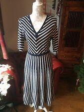 Boden Blue/cream Knitted Dress Wool 12-14