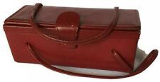 Vintage 1950s Women's Purse Red Leather Rectangular Box Handbag