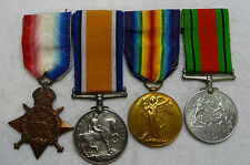 """4 Original British Medals/Ribbons: 3-WW1, 1-WW2 Awarded """"R.Stevens"""" R.A.Wounded"""