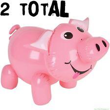 (2) Inflatable Pig Blow Up ~ Cute Piggie Piggy Swine Party Decoration Party Toys