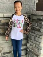 Girls, Toddler Cheetah Ruffle Jingle Bells Raglan Christmas T-Shirt 2T 3T 4T 5 6