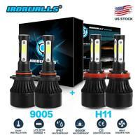 4-sides Combo H11 9005 HB3 LED Headlight Bulb 6000K 4800W 720000LM High Low Beam