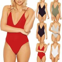 Womens Bodysuit Ladies V Neck Low Back Plain Top Cami Thin Strap Strappy Leotard