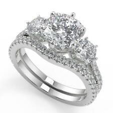 2.35 Ct Cushion Cut 3 Stone French Pave Diamond Engagement Ring Set SI1 F 14k