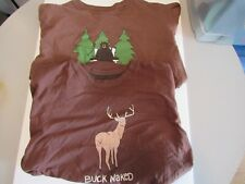 Hatley T-Shirts Bear Sit in Woods Buck Naked Organic Cotton Brown Lot of 2 - XL
