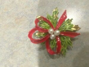 ART Signed Holly Leaf and Red Ribbon Brooch
