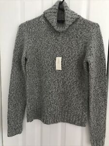 NWT Ann Taylor Gray and White Marbled Knit 100% Cashmere Turtleneck Sweater M