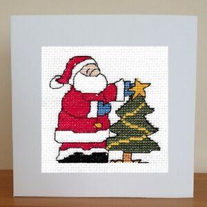 Christmas Card - Cross Stitch Kit - Santa With Tree
