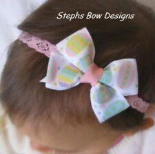 Pastel Easter Eggs Dainty Hair Bow Lace Headband 4 Preemie Newborn Toddler