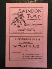 More details for 6.3.1948. swindon town res v cardiff city res (combination cup).