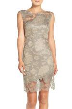 NWT$408 Tadashi Shoji Embroidered Lace Sheath Dress--Size 4P