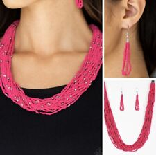 Summer Samba Pink Seed Bead Necklace with Matching Earrings NEW