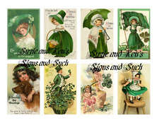 Vintage St Patrick's Day Reproduction Stickers Ireland Shamrock Green